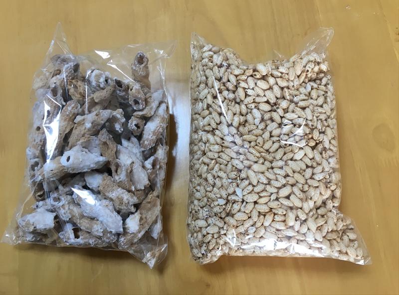 玄米のポン菓子とマカロニのポン菓子