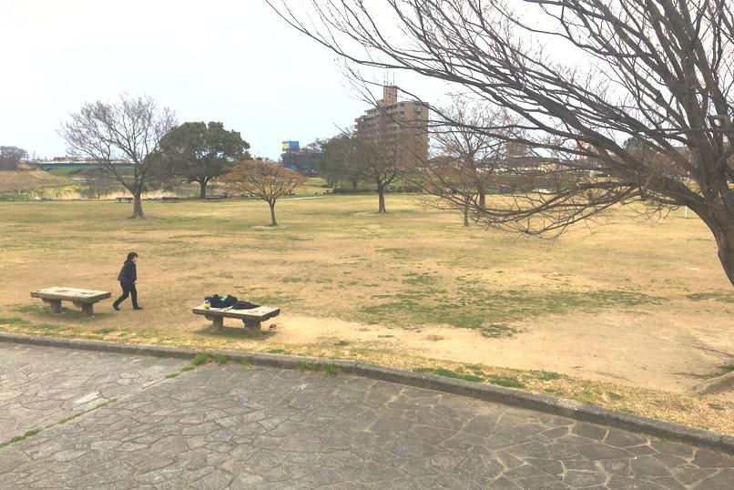 馬込川上島緑地の広場