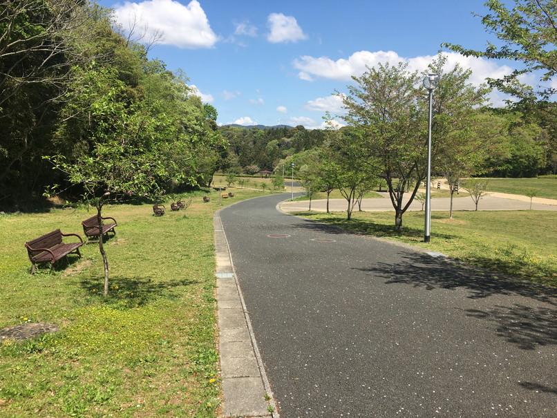 都田総合公園の坂道のベンチ
