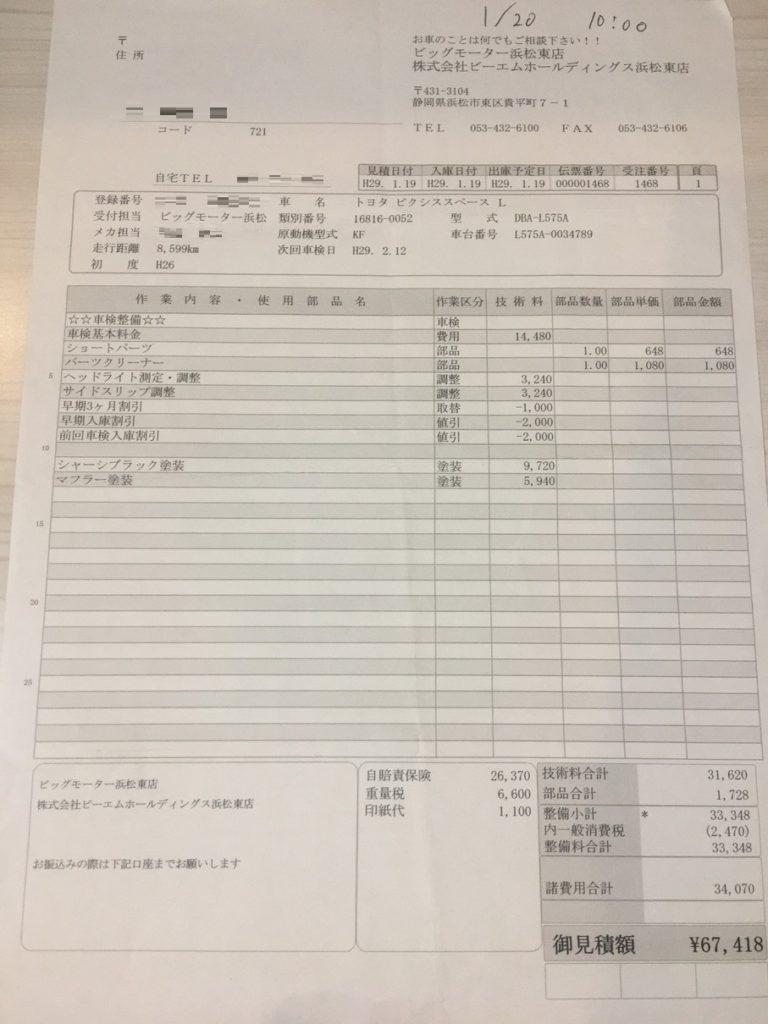 ビッグモーター浜松東店の車検見積もり書